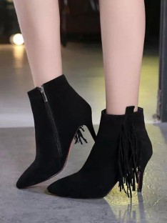 Women's Suede Pointed Toe with Tassel Stiletto Heel Ankle Boots