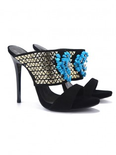 Women's Peep Toe Flock Sandals High Heels