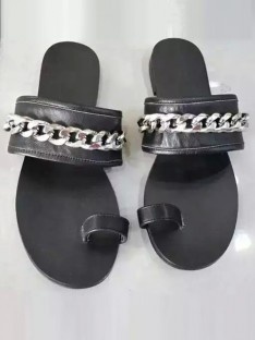Black Chain Sandal Slippers S5LSDN52543LF