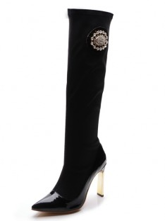 Elastic Fabric Heel Knee High Boots S5MA0404LF
