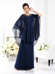 Scoop 3/4 Sleeves Floor-Length Chiffon Mother of the Bride Dress