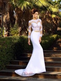 Scoop Long Sleeves Court Train Satin Lace Wedding Dress