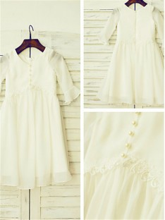 Scoop Long Sleeves Floor-Length Chiffon Flower Girl Dress