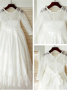 Scoop Long Sleeves Floor-Length Lace Flower Girl Dress
