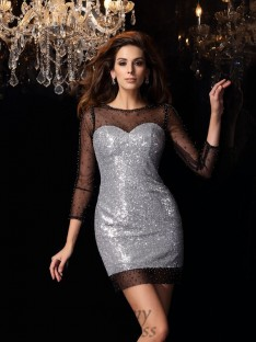 Scoop Sequins 3/4 Sleeves Short/Mini Dress