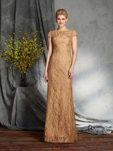 Sheath/Column Bateau Lace Long Mother of the Bride Dress