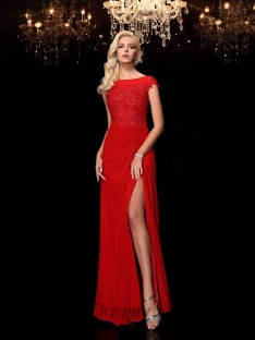 Sheath/Column Bateau Long Chiffon Mother of the Bride Dress