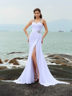 Sheath/Column Chiffon Straps Chapel Train Wedding Dress