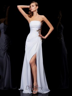 Sheath/Column Floor-Length Strapless Chiffon Dress