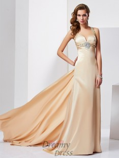 Sheath/Column Halter Sweep/Brush Train Silk like Satin Dress