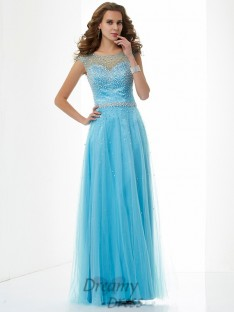 Sheath/Column High Neck Floor-Length Net Dress