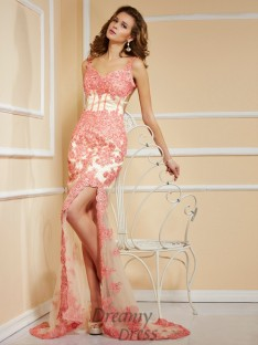Sheath/Column Lace Sweetheart Asymmetrical Dress