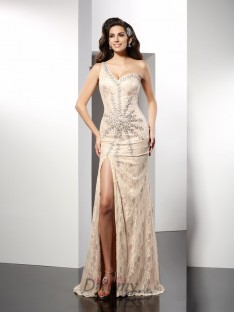 Sheath/Column One-Shoulder Sweep/Brush Train Elastic Woven Satin Dress