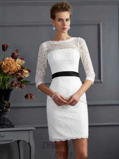 Sheath/Column Scoop 3/4 Sleeves Short/Mini Lace Sash/Ribbon/Belt Dress