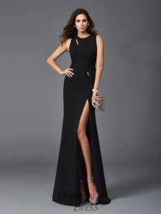 Sheath/Column Scoop Chiffon Long Dress