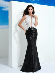 Sheath/Column Scoop Paillette Floor-Length Lace Dress