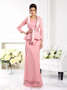 Sheath/Column Square Elastic Woven Satin Long Mother of the Bride Dress
