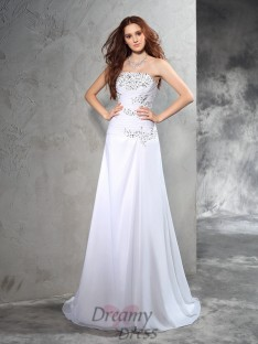 Sheath/Column Strapless Sweep/Brush Train Chiffon Wedding Dress