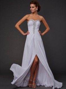 Sheath/Column Strapless Sweetheart Floor-length Chiffon Dress