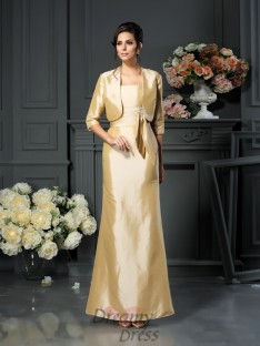 Sheath/Column Straps Ankle-Length Taffeta Mother of the Bride Dress