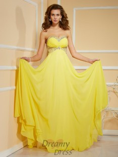 Sheath/Column Sweetheart Floor-Length Chiffon Dress