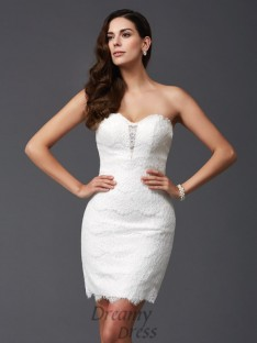 Sheath/Column Sweetheart Lace Short Dress