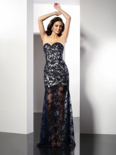 Sheath/Column Sweetheart Satin Long Dress