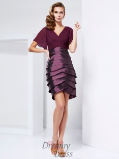 Short Sleeves V-neck Tiered Taffeta Mother Of The Bride Dress