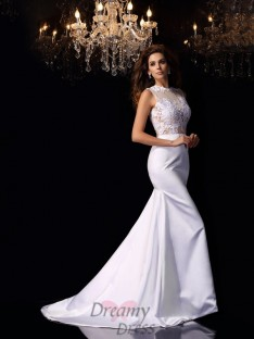 Trumpet/Mermaid High Neck Satin Chapel Train Wedding Dress