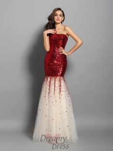 Trumpet/Mermaid One-Shoulder Sequins Floor-Length Dress