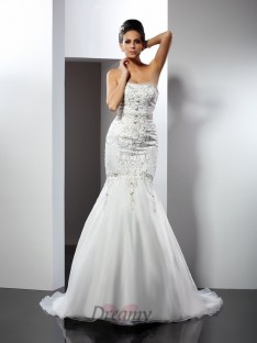 Trumpet/Mermaid Strapless Chapel Train Satin Wedding Dress