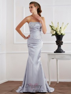 Trumpet/Mermaid Strapless Elastic Woven Satin Dress