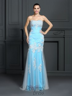 Trumpet/Mermaid Strapless Elastic Woven Satin Long Dress
