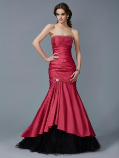 Trumpet/Mermaid Strapless Floor-Length Taffeta Dress