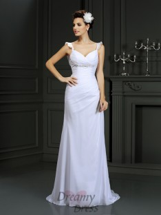 Trumpet/Mermaid Straps Court Train Chiffon Wedding Dress