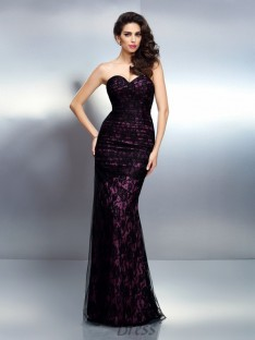 Trumpet/Mermaid Sweetheart Lace Elastic Woven Satin Long Dress