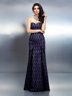 Trumpet/Mermaid Sweetheart Lace Satin Long Dress
