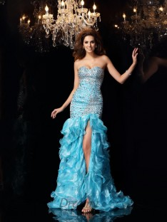 Trumpet/Mermaid Sweetheart Organza Asymmetrical Dress