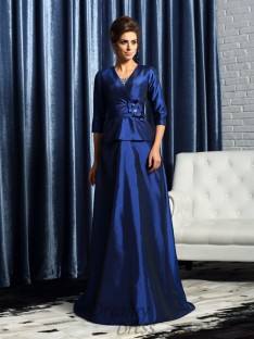 V-neck 1/2 Sleeves Taffeta Floor-Length Mother of the Bride Dress
