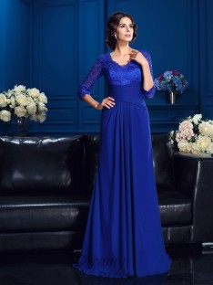 V-neck Sweep/Brush Train Chiffon Mother Of The Bride Dress